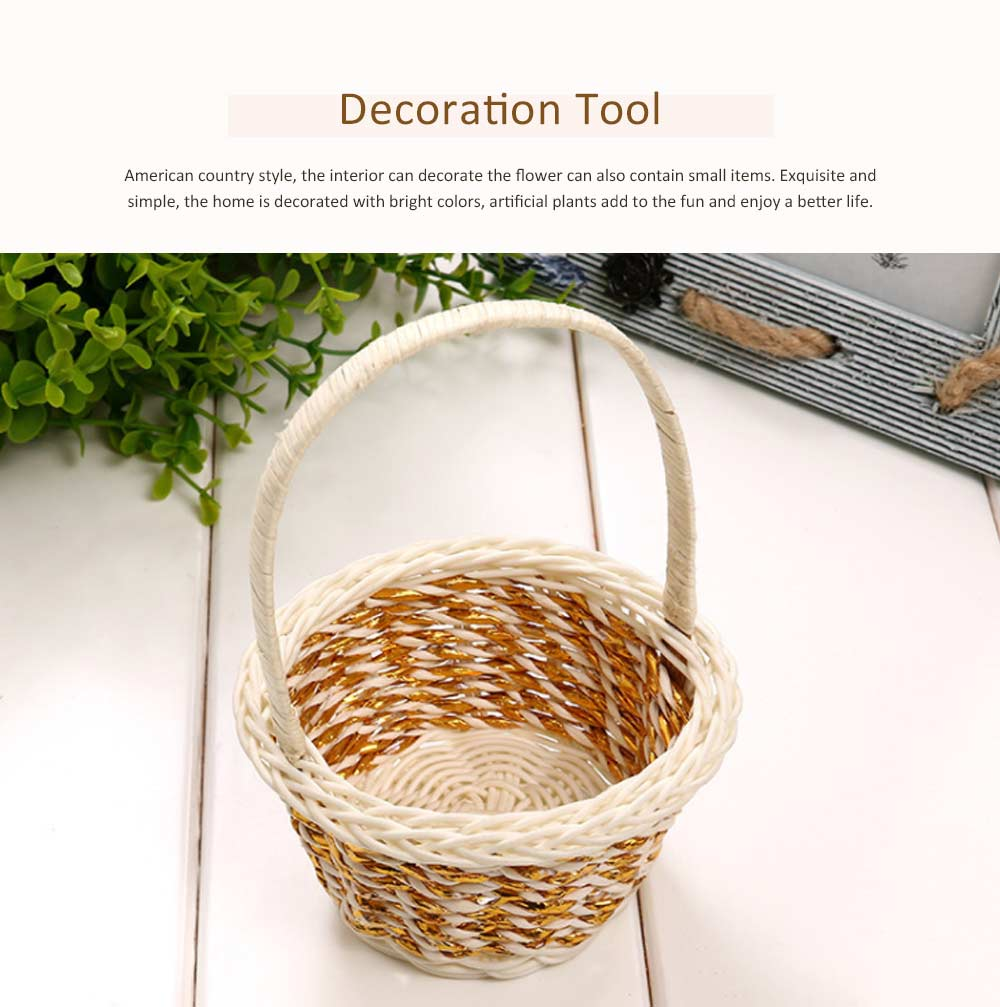 Portable Rattan Weaving Basket for Storage, Wedding as Decoration Tool, Multiple Styles DIY Handmade Flower Arrangement Basket 4
