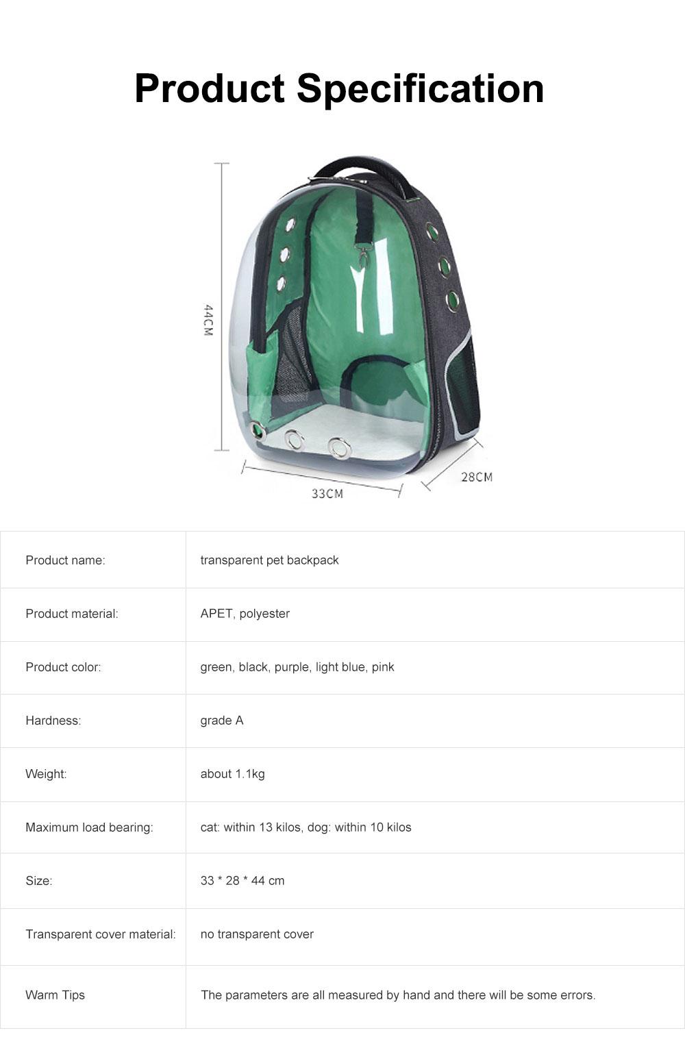 Transparent Knapsack for Pet Dog Cat APET Polyester Material with Vent Design Rucksack Tear-resistance Bag Durable Pack-sack 7