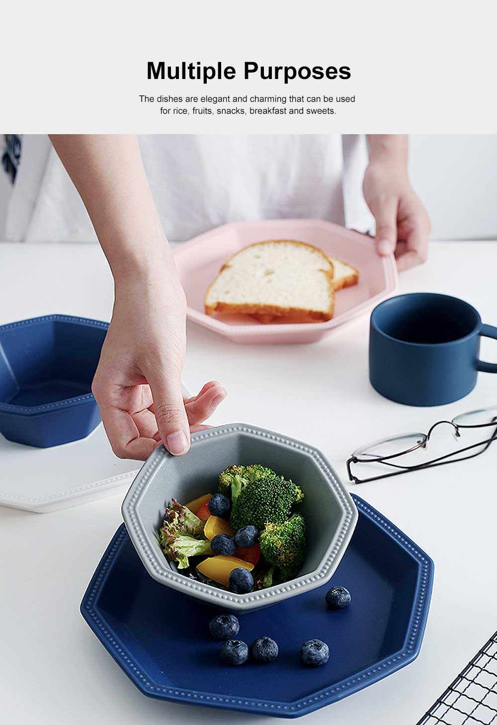 Geometrical Dish Porcelain Material Tray for Home Hotel Foods Hollow-ware Elegant Plate 5