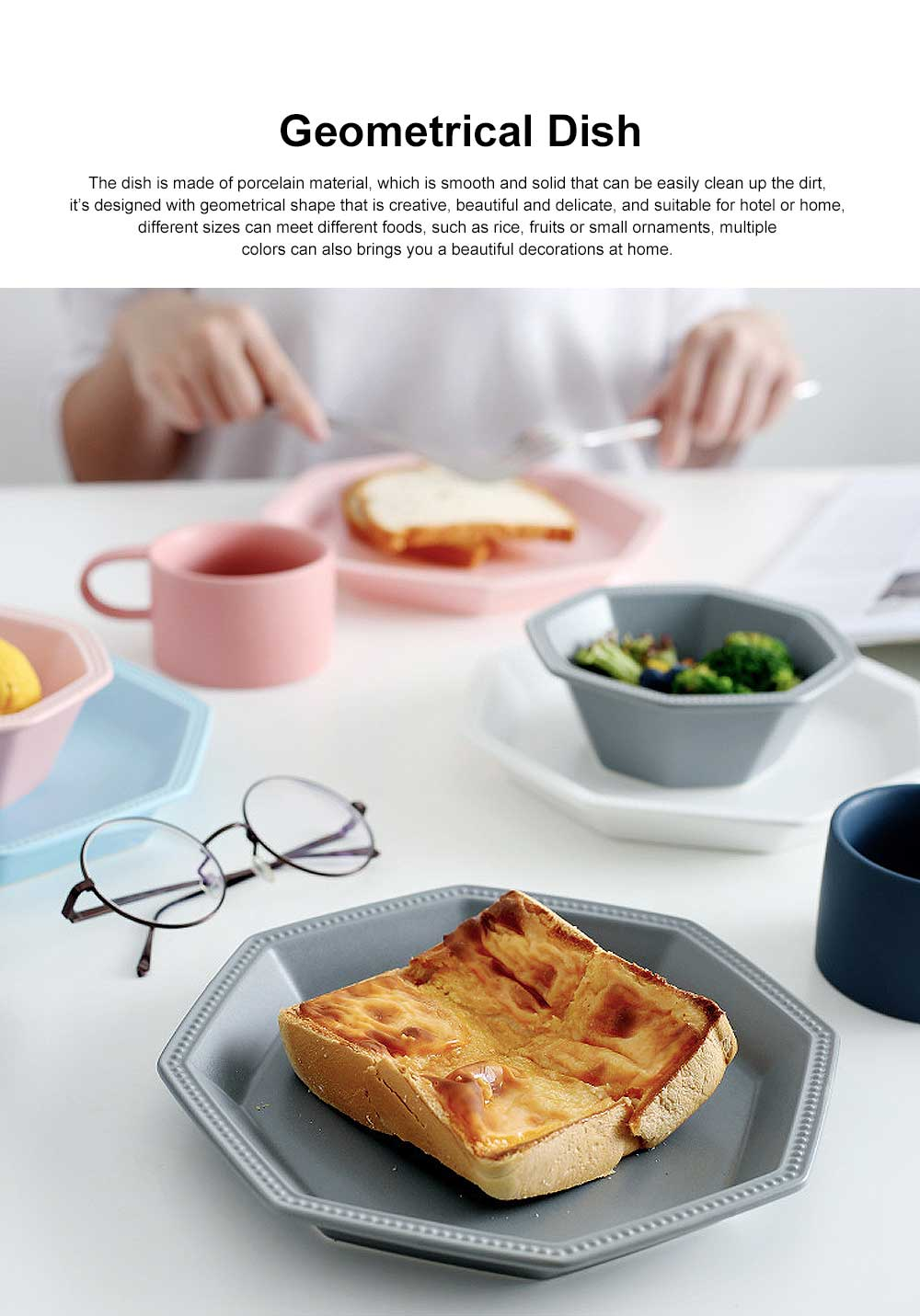 Geometrical Dish Porcelain Material Tray for Home Hotel Foods Hollow-ware Elegant Plate 0
