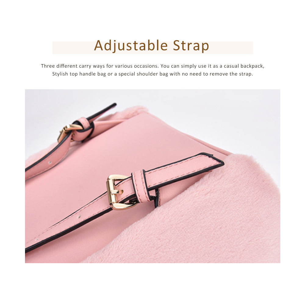 Cute Casual PU Woolen PU Leather Rucksack Shoulder Bag Women Fashion Accessories Elegant Drawstring Travel Backpack 5