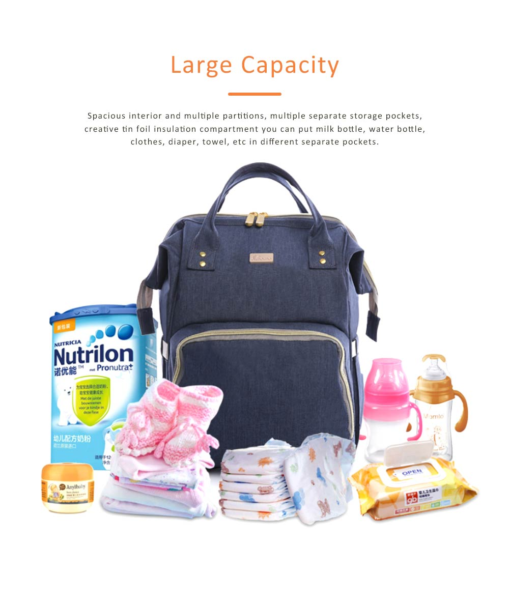 Diaper Bag Backpack for Maternal Pregnant Expectant Mother Canvas Travel Rucksack Casual Maternity Nappy Bag Organizer Nursing Bottle Bag 1
