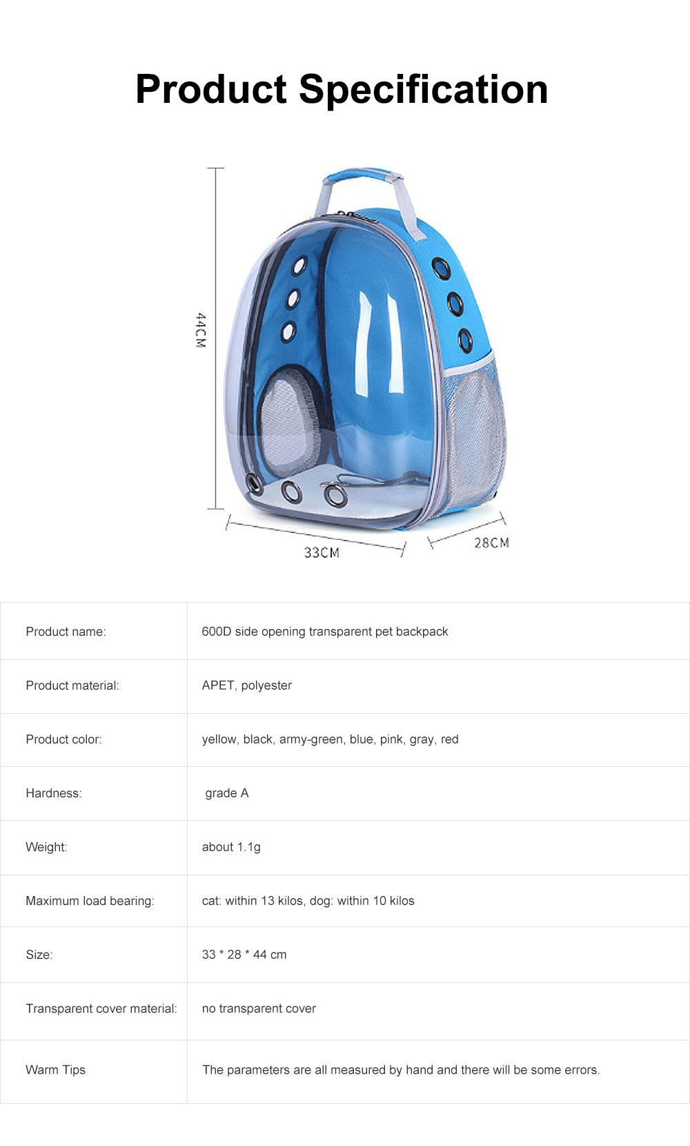Pet Bag APET Polyester Backpack Breathable Knapsack for Cat Dog Tear-resistance Pack-sack Vent Rucksack 6