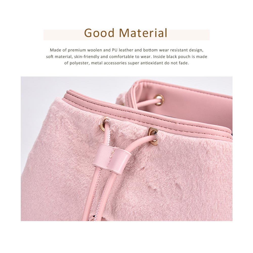 Cute Casual PU Woolen PU Leather Rucksack Shoulder Bag Women Fashion Accessories Elegant Drawstring Travel Backpack 1