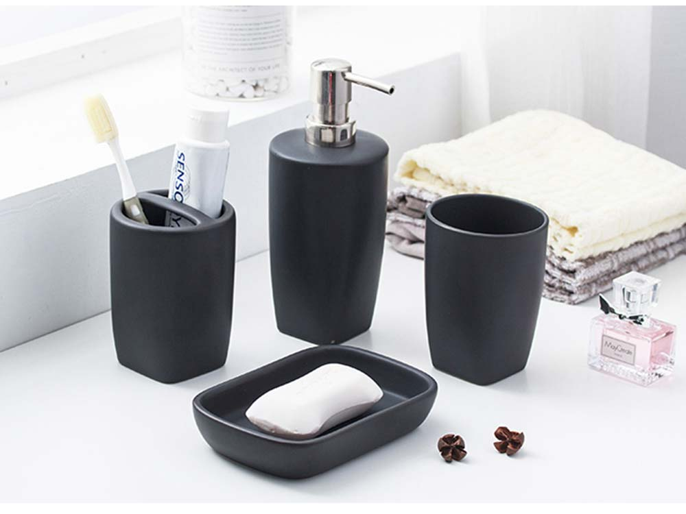 Multi-color Ceramic Bathroom 4 PCS Suits Nordic Minimalist Style Matte Bathroom Supplies Tooth Mug Toothbrush Holder Soap Box Lotion Bottle 6
