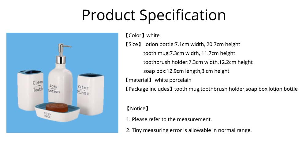 Ceramic Bathroom 4 Pieces Suits Nordic Minimalist Style Creative Bathroom Supplies Tooth Mug Toothbrush Holder Soap Box Lotion Bottle 6