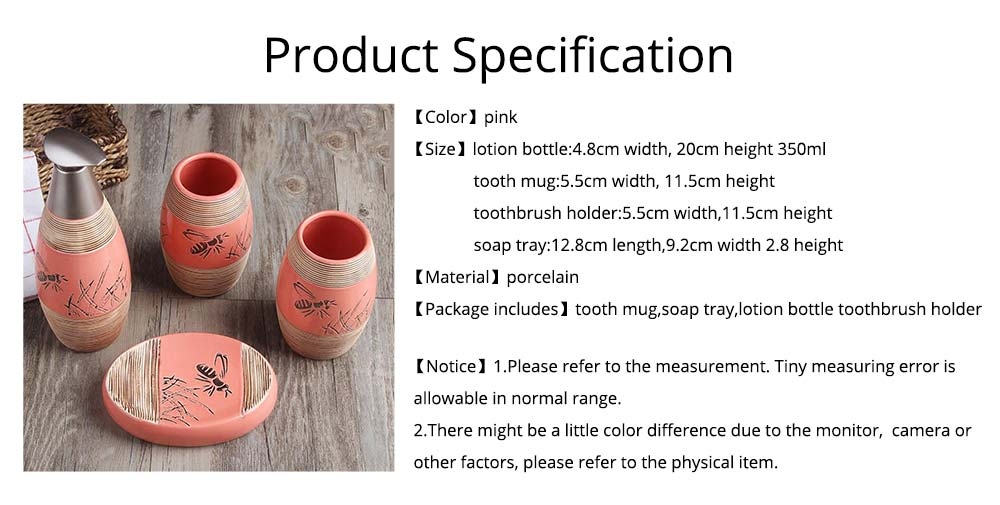 Creative Hand-drawing Line Vintage Style Ceramic 4 PCS Bathroom Supplies Set Accessories Tooth Mug Toothbrush Holder Soap Tray Lotion Bottle 13