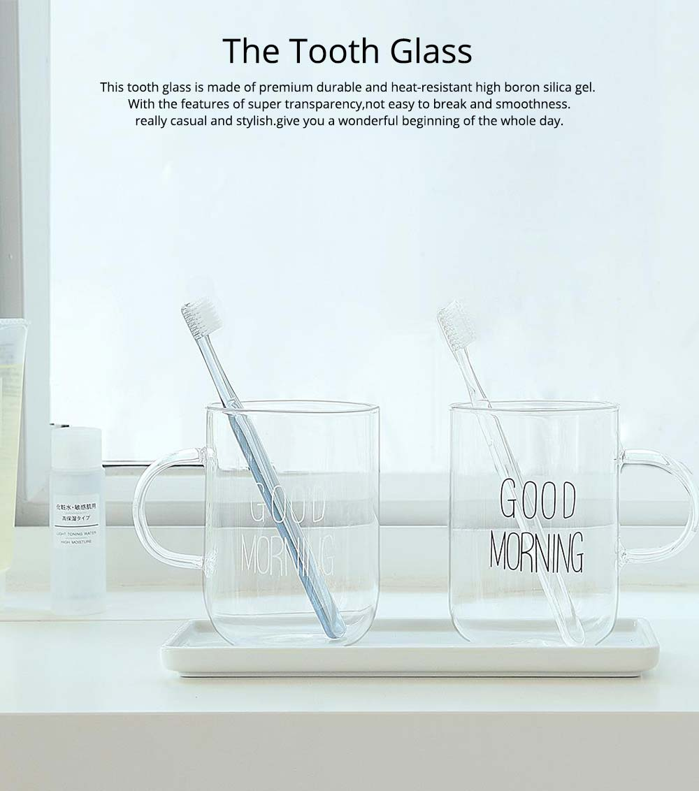 Glass Toothbrush Holder Bathroom Transparent Large Capacity Cup Korean Washing Cup Ins Treads Fashion Mug For Adult 0