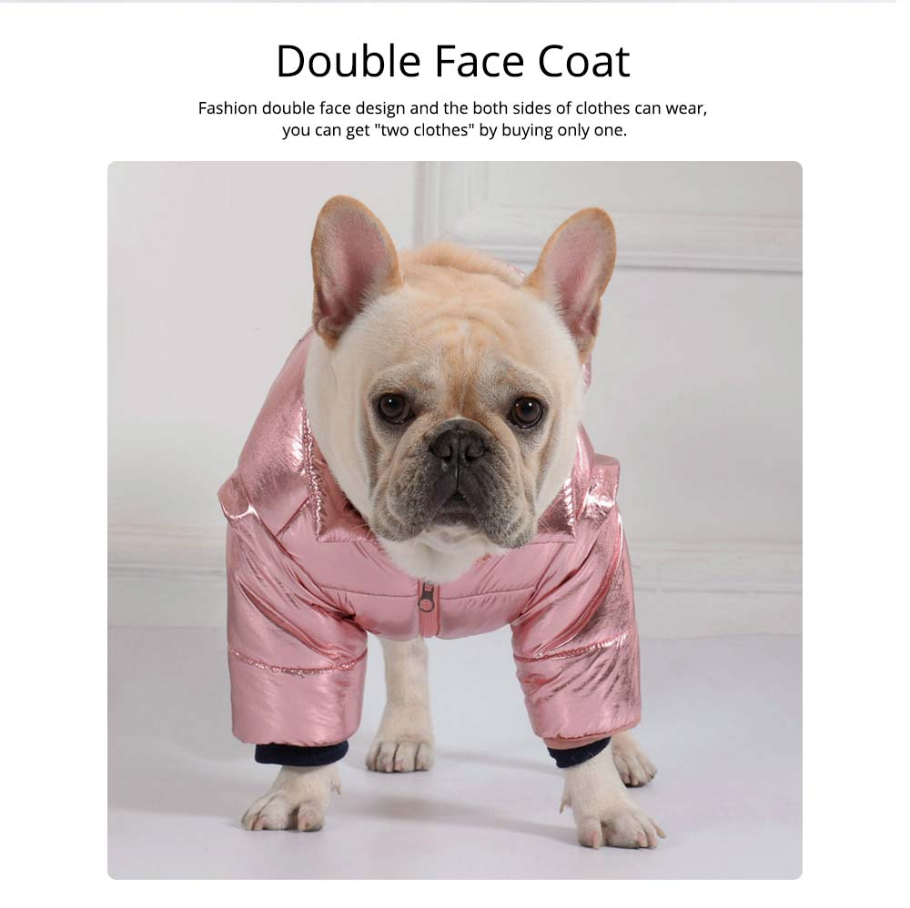 Pet Dog Cotton-Padded Coat Double Face Coat Bright Leather Zipper Warm Down Coat for Puppy Autumn Winter New 2019 1