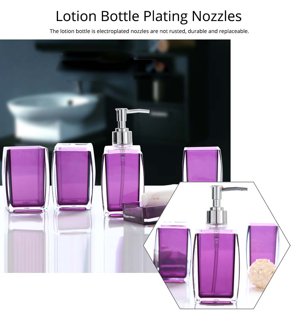 Creative Modern Acrylic Mirror Style 5 Pieces Bathroom Supplies Set Accessories Tooth Mug Toothbrush Holder Soap Tray Lotion Bottle 4