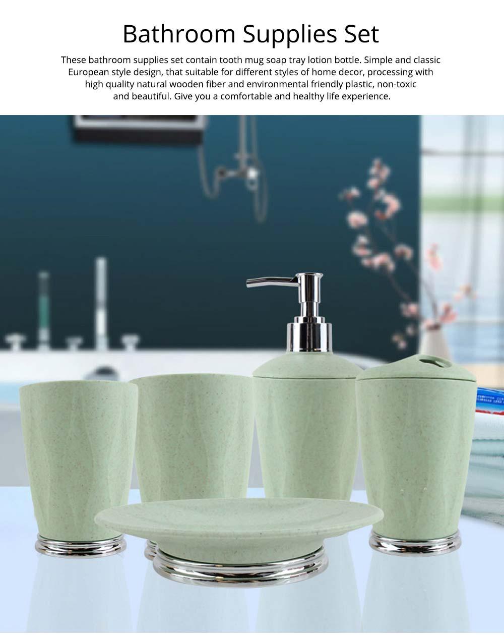 4 PCS Simple Fiber Wooden Bathroom Wash Supplies Set For Wedding Home Hotel 0