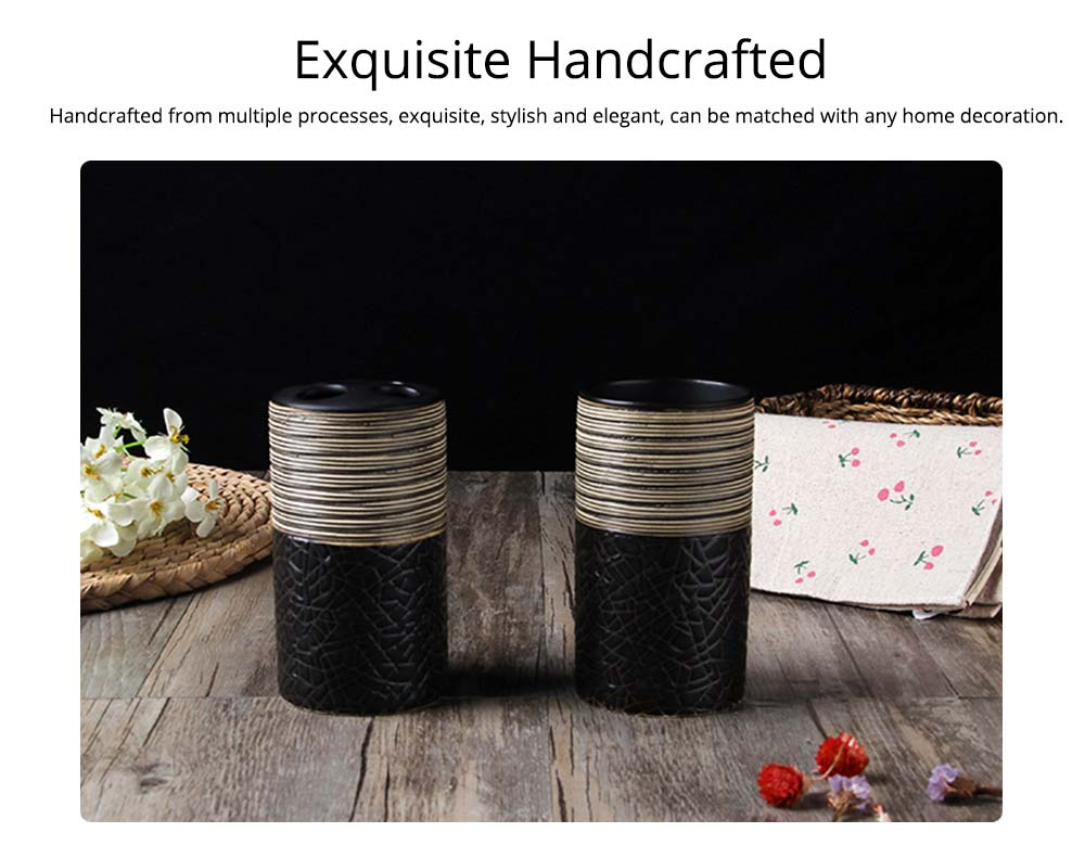 Creative Crack Pattern Hand-drawing European Style Ceramic 4 pieces Bathroom Supplies Set Accessories Tooth Mug Toothbrush Holder Soap Tray Lotion Bottle 3