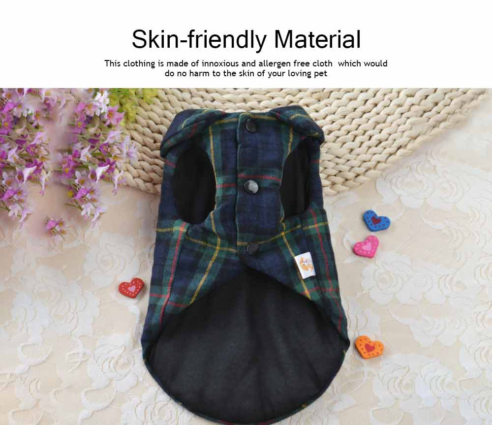 Fashionable Plaid Pet Clothing, Nontoxic Fine Cotton Shirt for dogs, Double-deck Thickened Dog Clothes Autum Winter 1