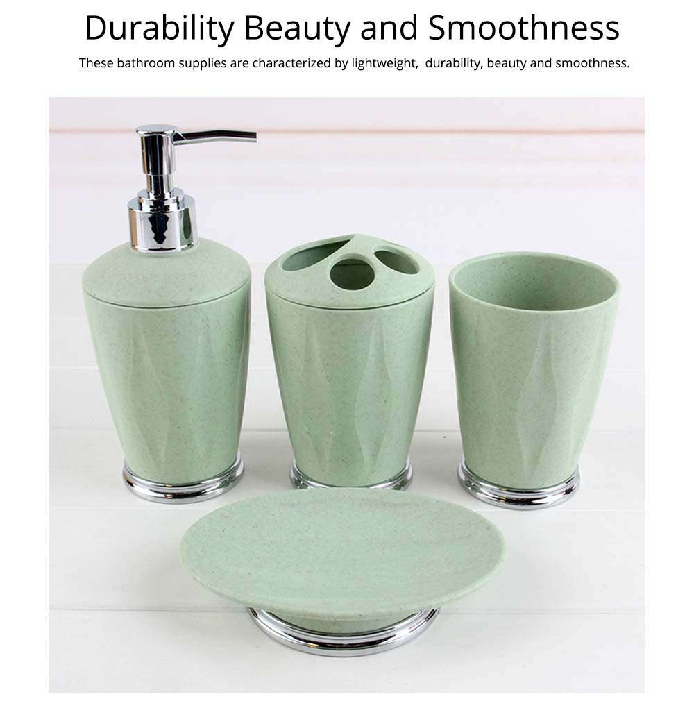4 PCS Simple Fiber Wooden Bathroom Wash Supplies Set For Wedding Home Hotel 5