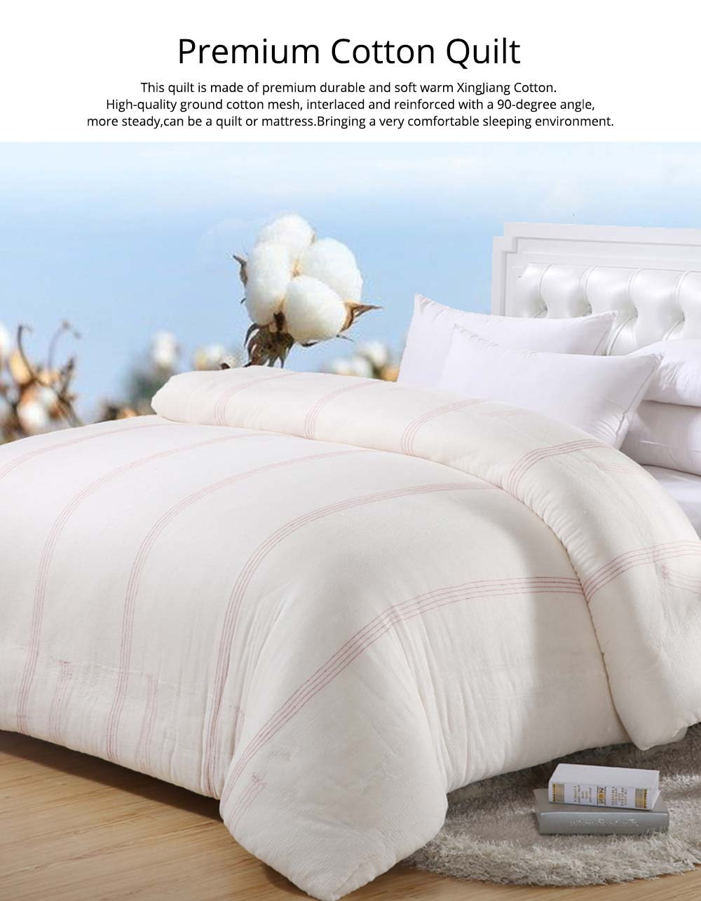 Red Line Reinforced Quilt Premium Cotton Autumn And Winter Quilt Hypoallergenic Soft Warm Covered Quilt Wholesale 0