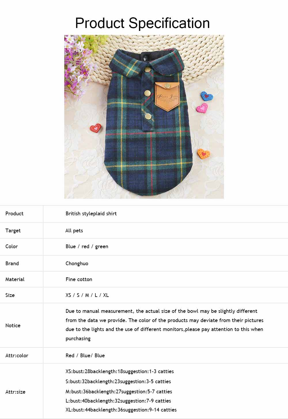 Fashionable Plaid Pet Clothing, Nontoxic Fine Cotton Shirt for dogs, Double-deck Thickened Dog Clothes Autum Winter 5