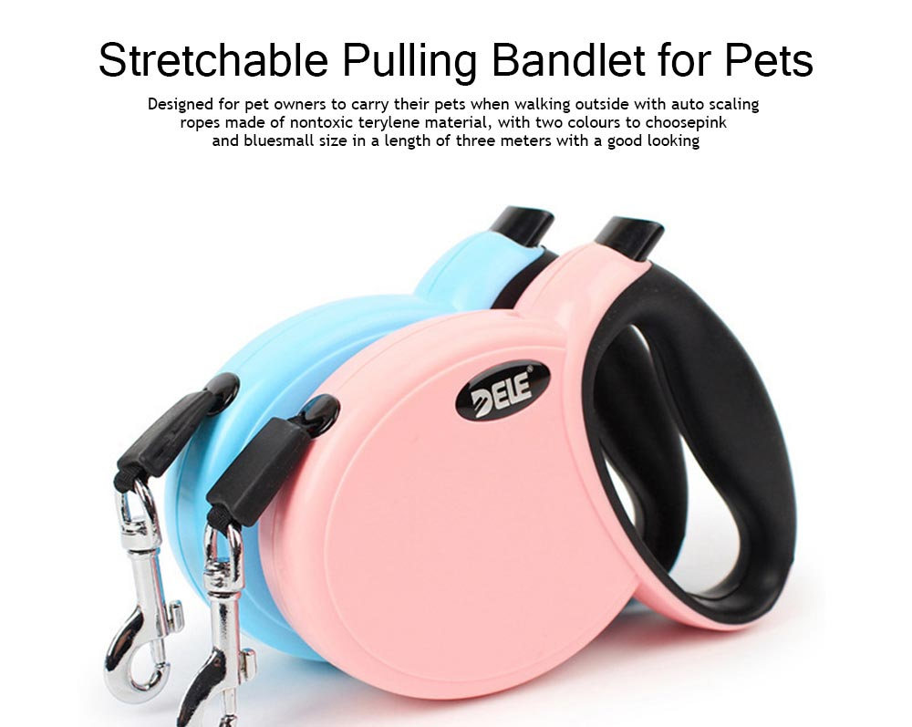 Hauling Cable Innoxious and Stretchable Small-sized Terylen and ABS Tow Rope for Pets, Auto Scaling Pulling Bandlet 0