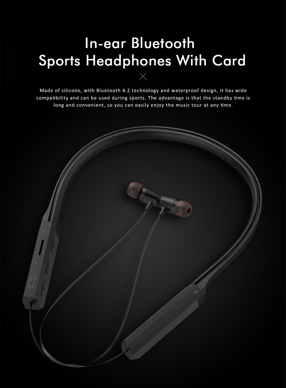 Sports Headphones with TF Card Slot, Hanging Neck Bluetooth Earphones, Wireless In-ear Headset 0
