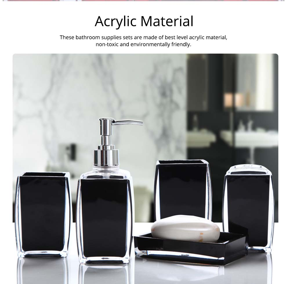 Creative Modern Acrylic Mirror Style 5 Pieces Bathroom Supplies Set Accessories Tooth Mug Toothbrush Holder Soap Tray Lotion Bottle 1