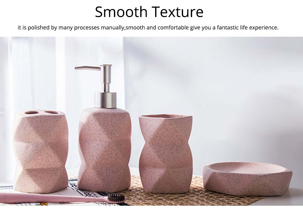 Nordic Style 4 pieces Ceramic Bathroom Accessories Set, Tooth Mug Toothbrush Holder Soap Tray Lotion Bottle 6