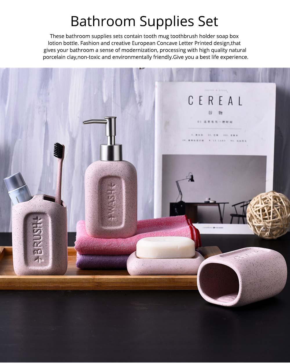 Creative European Ceramic Bathroom Supplies 4 pieces Set Concave Letter Printed Sanitary Ware 0