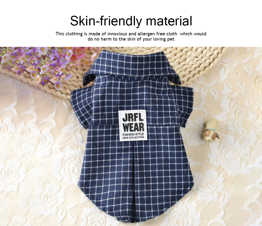 Fashionable Plaid Pet Clothing, Nontoxic and Fine Cotton Cloth for Pets, Dog and Cats Clothes Spring Summer 1