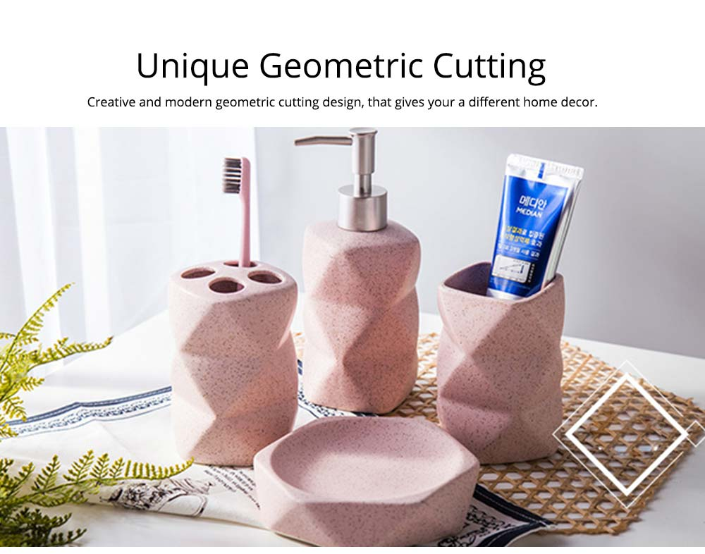 Nordic Style 4 pieces Ceramic Bathroom Accessories Set, Tooth Mug Toothbrush Holder Soap Tray Lotion Bottle 2