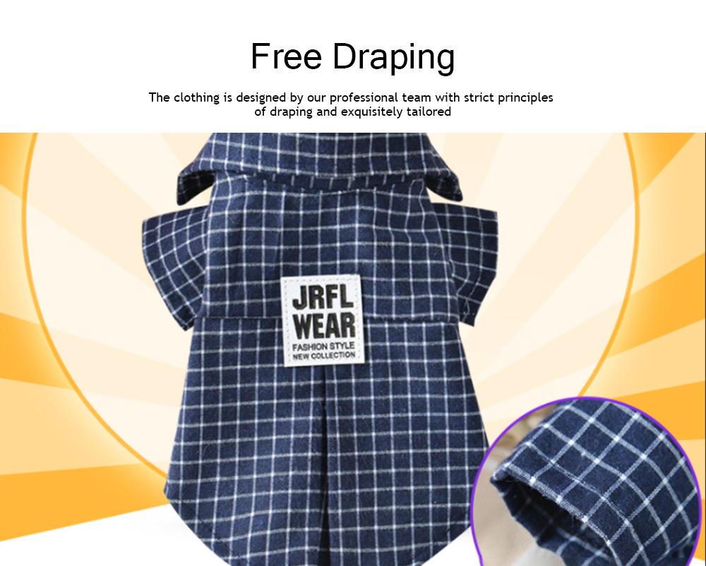 Fashionable Plaid Pet Clothing, Nontoxic and Fine Cotton Cloth for Pets, Dog and Cats Clothes Spring Summer 4