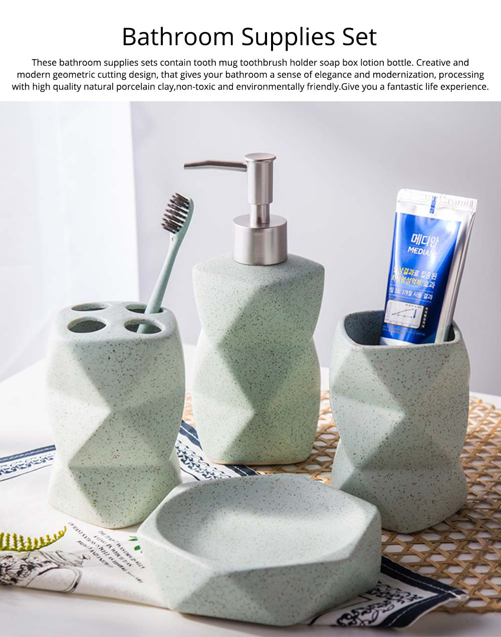 Nordic Style 4 pieces Ceramic Bathroom Accessories Set, Tooth Mug Toothbrush Holder Soap Tray Lotion Bottle 0