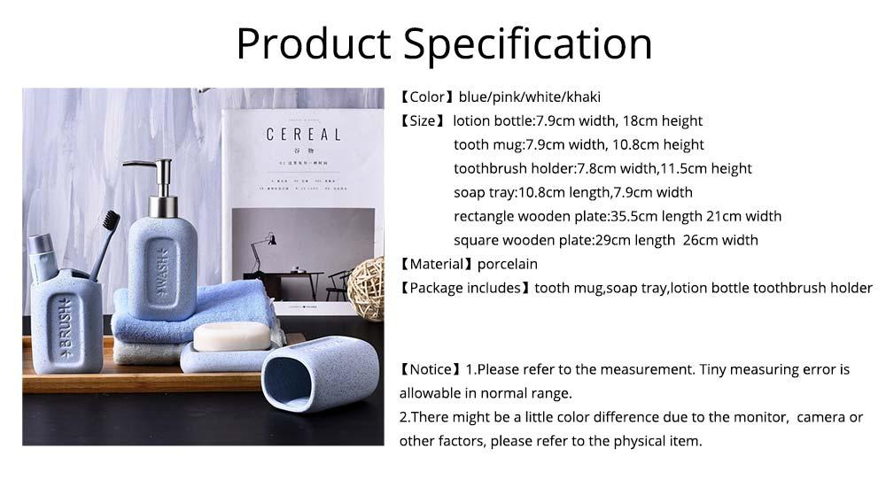 Creative European Ceramic Bathroom Supplies 4 pieces Set Concave Letter Printed Sanitary Ware 6