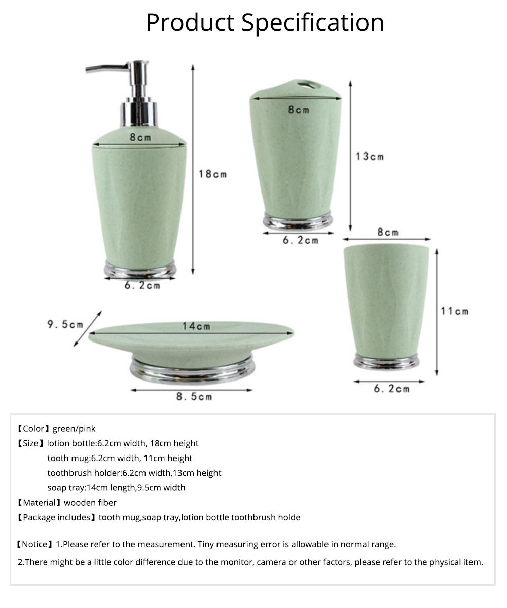4 PCS Simple Fiber Wooden Bathroom Wash Supplies Set For Wedding Home Hotel 7