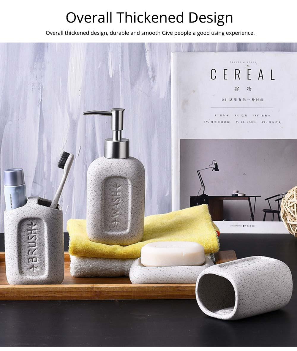 Creative European Ceramic Bathroom Supplies 4 pieces Set Concave Letter Printed Sanitary Ware 3