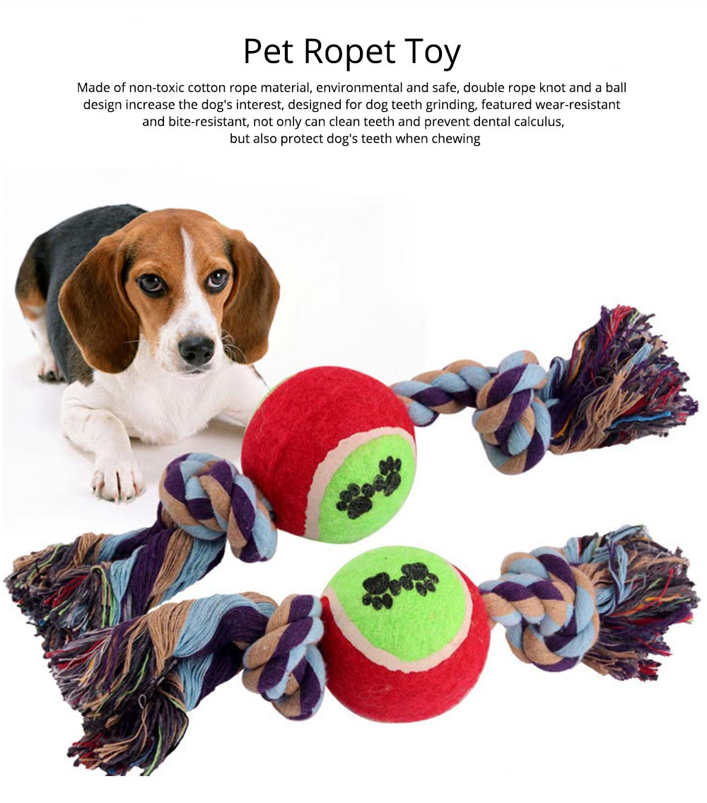 Pet Dog Double Rope Knot Ball Cotton Rope for Dogs, Cats,  Teeth Grinding Bite-Resistant Pet Ropet Toy 0