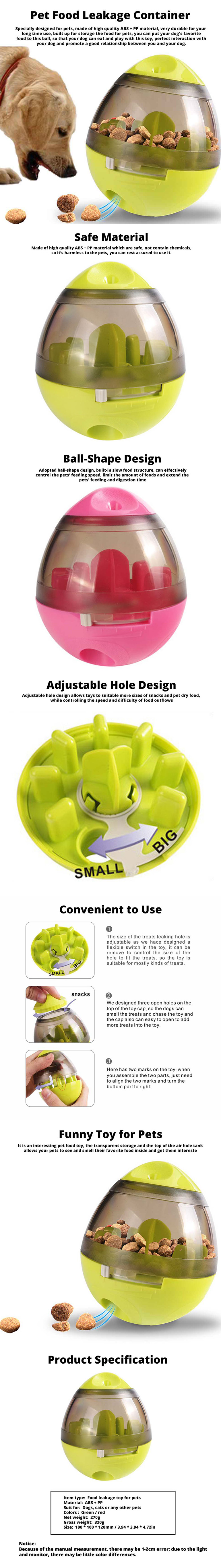 Pet Food Leakage Container for Cat and Dog, Interactive Dog Cat Food Treat Ball Bowl Slow Feed Pet Playing Toys 0