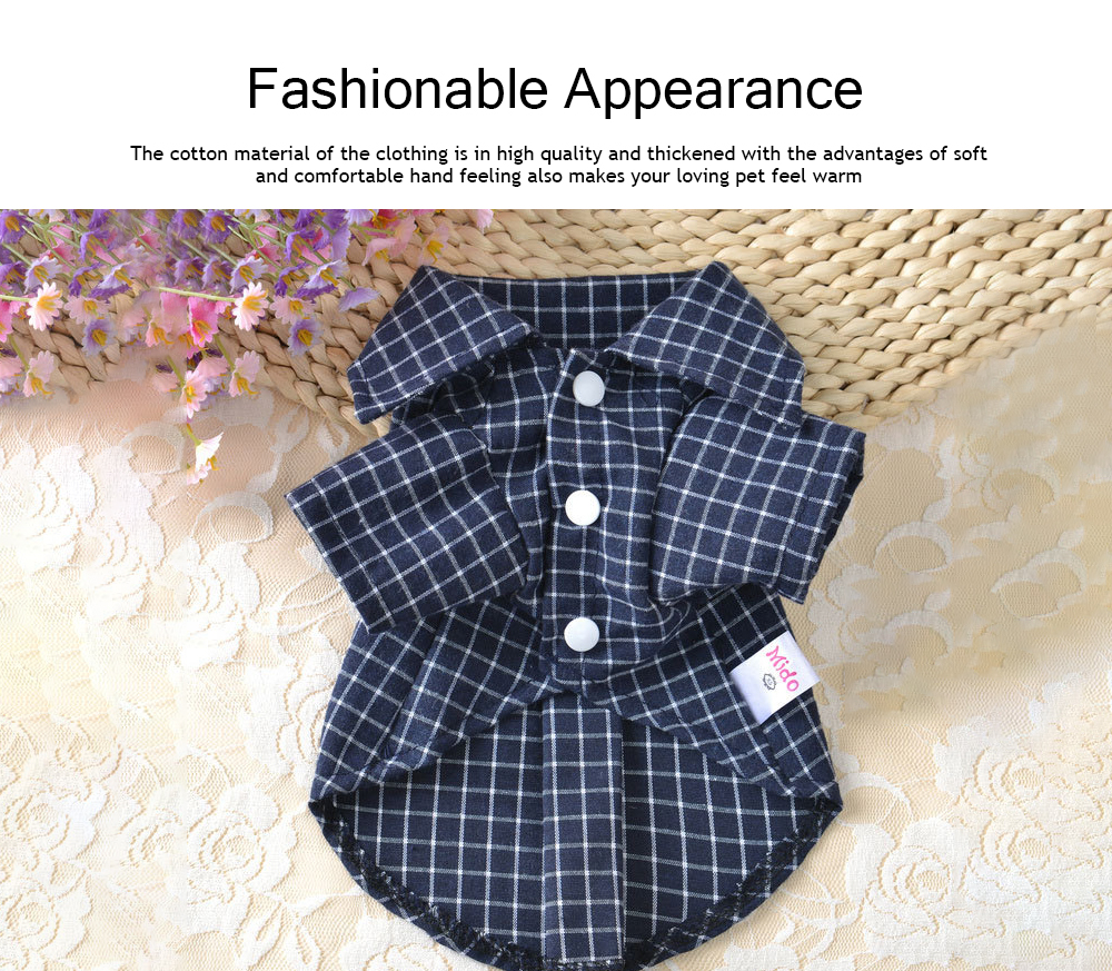 Fashionable Plaid Pet Clothing, Nontoxic and Fine Cotton Cloth for Pets, Dog and Cats Clothes Spring Summer 2