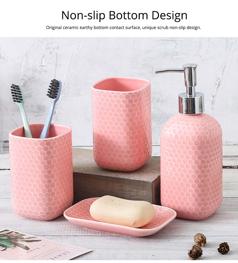 Simple Solid Color Ceramic 4 Pieces Bathroom Accessory Set Creative Fashion Design Tooth Mug Soap tray Lotion Bottle 6