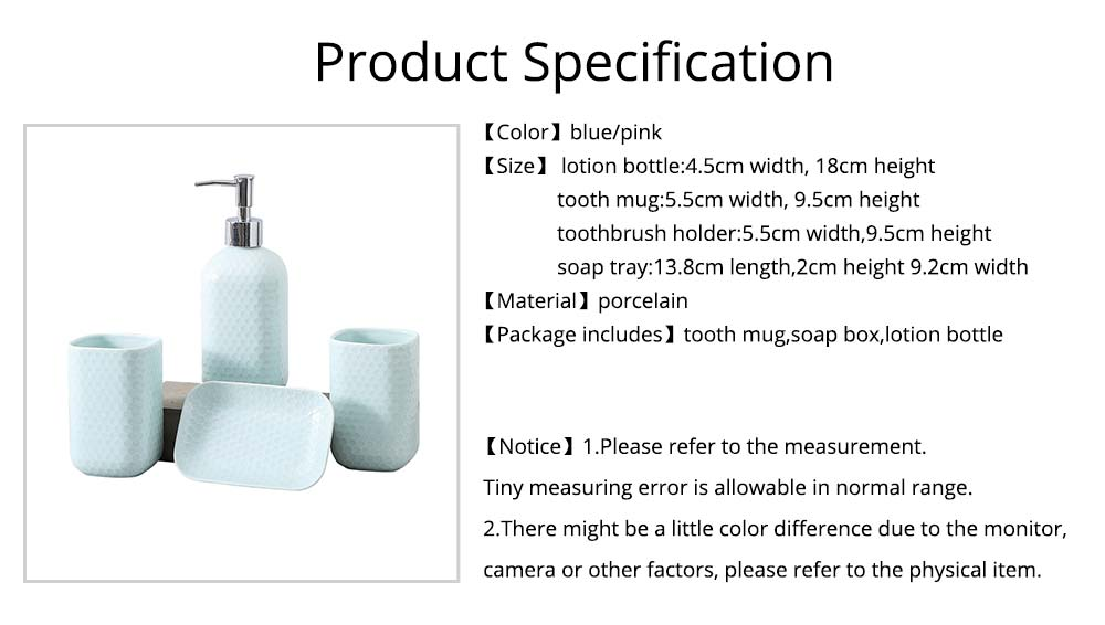 Simple Solid Color Ceramic 4 Pieces Bathroom Accessory Set Creative Fashion Design Tooth Mug Soap tray Lotion Bottle 7