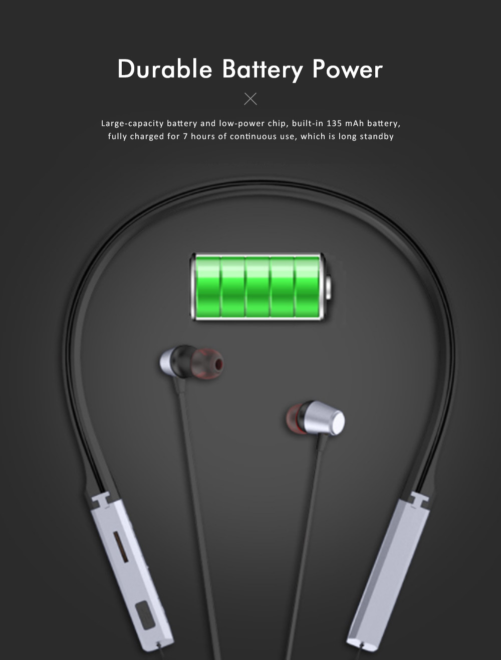Sports Headphones with TF Card Slot, Hanging Neck Bluetooth Earphones, Wireless In-ear Headset 2