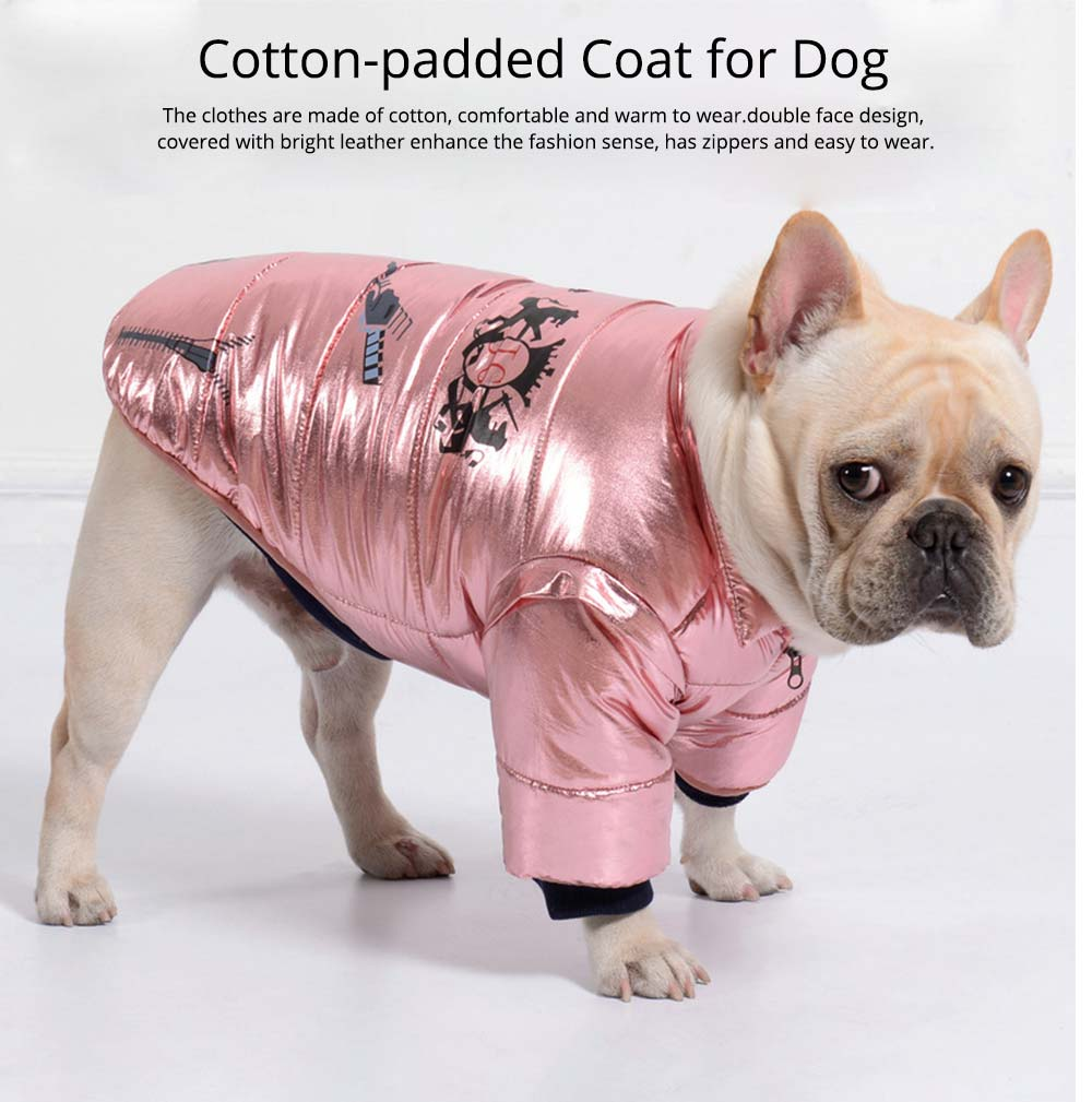 Pet Dog Cotton-Padded Coat Double Face Coat Bright Leather Zipper Warm Down Coat for Puppy Autumn Winter New 2019 0