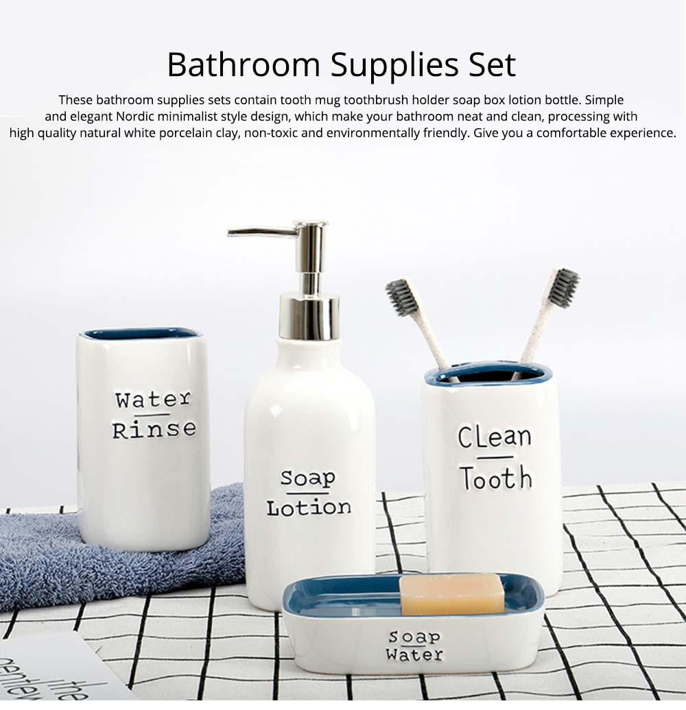 Ceramic Bathroom 4 Pieces Suits Nordic Minimalist Style Creative Bathroom Supplies Tooth Mug Toothbrush Holder Soap Box Lotion Bottle 0