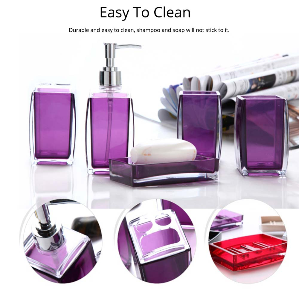Creative Modern Acrylic Mirror Style 5 Pieces Bathroom Supplies Set Accessories Tooth Mug Toothbrush Holder Soap Tray Lotion Bottle 5