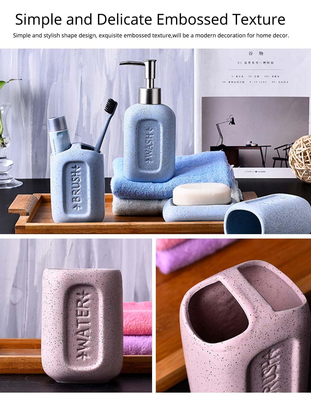 Creative European Ceramic Bathroom Supplies 4 pieces Set Concave Letter Printed Sanitary Ware 2