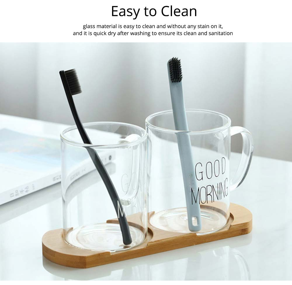 Washing Cup Set Transparent Letter Print Bathroom Washing Glass Cup Toothbrush Holder Cup Couple Mug 4