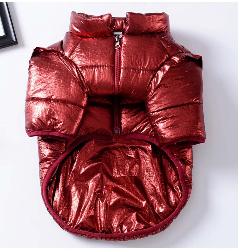 Pet Dog Cotton-Padded Coat Double Face Coat Bright Leather Zipper Warm Down Coat for Puppy Autumn Winter New 2019 7