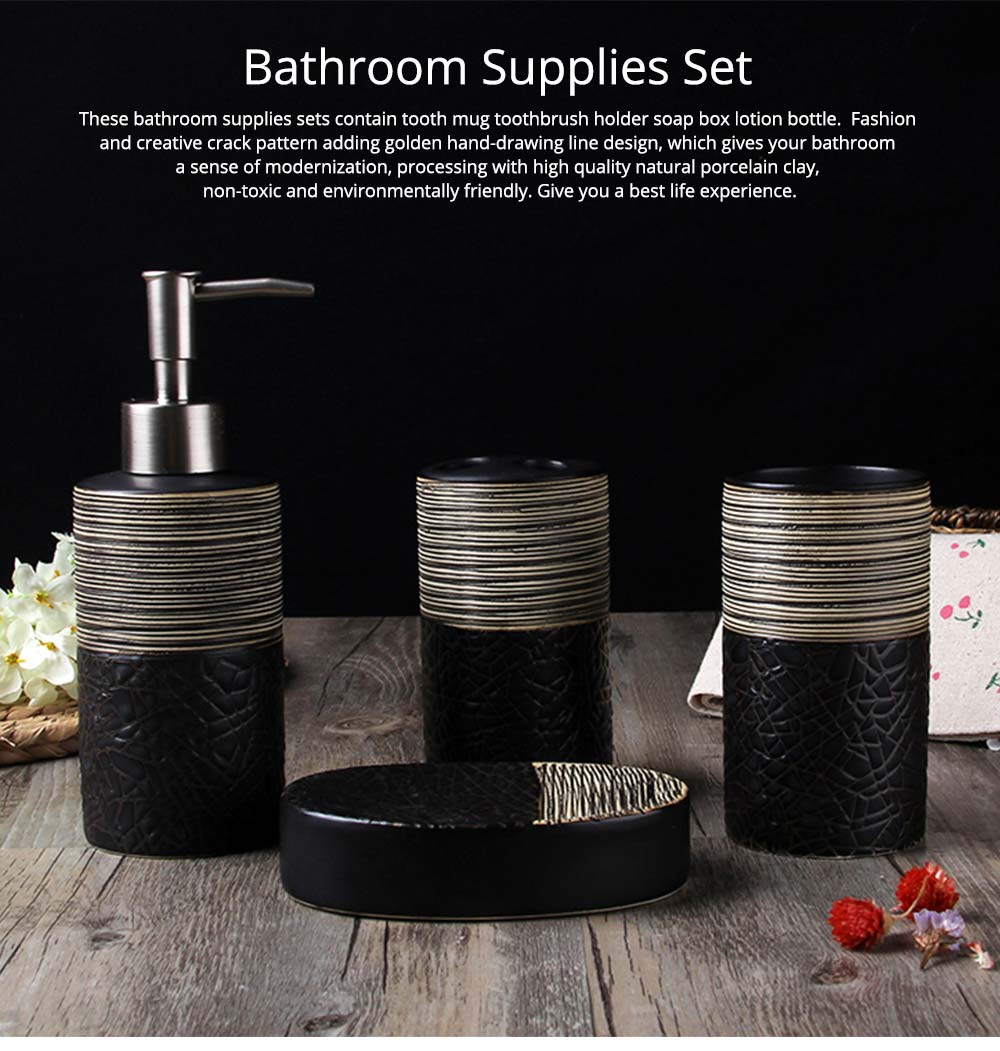 Creative Crack Pattern Hand-drawing European Style Ceramic 4 pieces Bathroom Supplies Set Accessories Tooth Mug Toothbrush Holder Soap Tray Lotion Bottle 0
