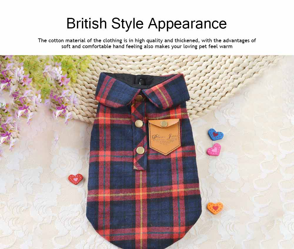 Fashionable Plaid Pet Clothing, Nontoxic Fine Cotton Shirt for dogs, Double-deck Thickened Dog Clothes Autum Winter 3