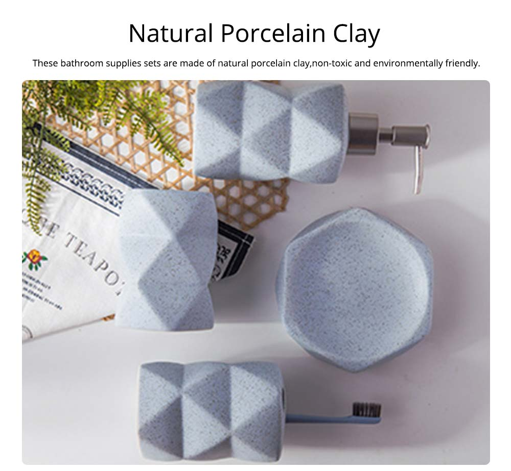 Nordic Style 4 pieces Ceramic Bathroom Accessories Set, Tooth Mug Toothbrush Holder Soap Tray Lotion Bottle 1