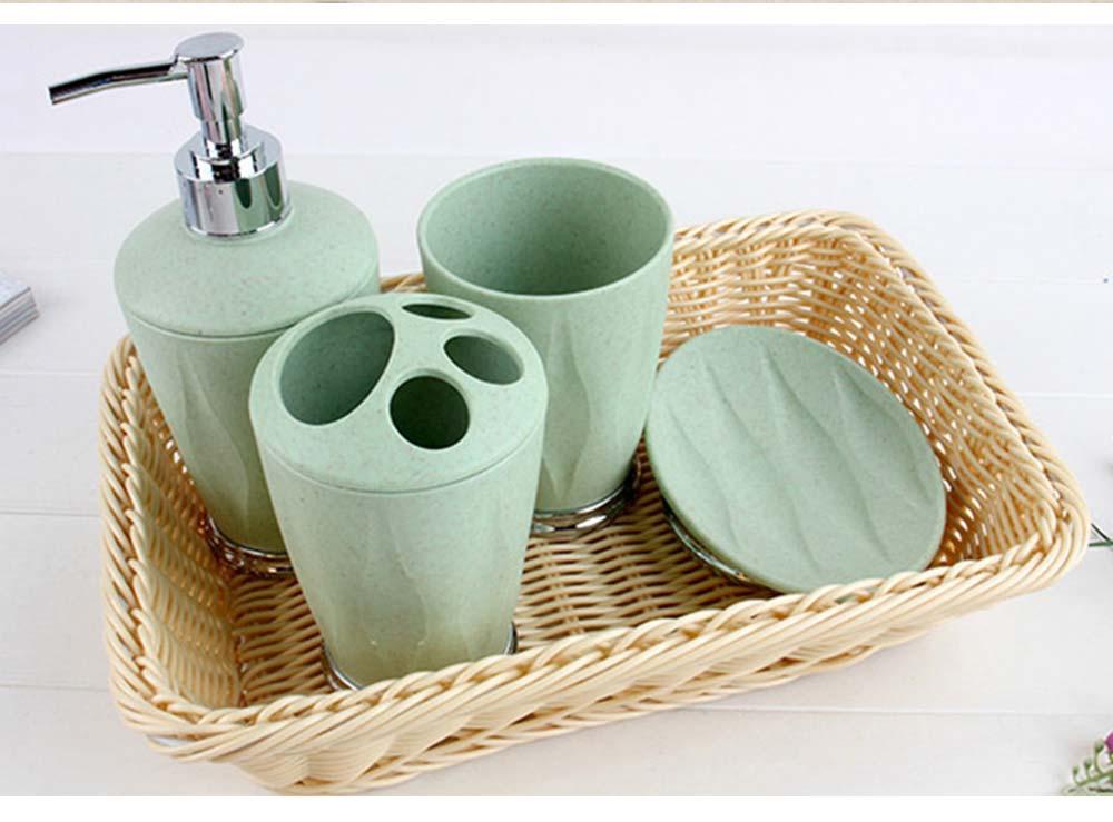 4 PCS Simple Fiber Wooden Bathroom Wash Supplies Set For Wedding Home Hotel 4