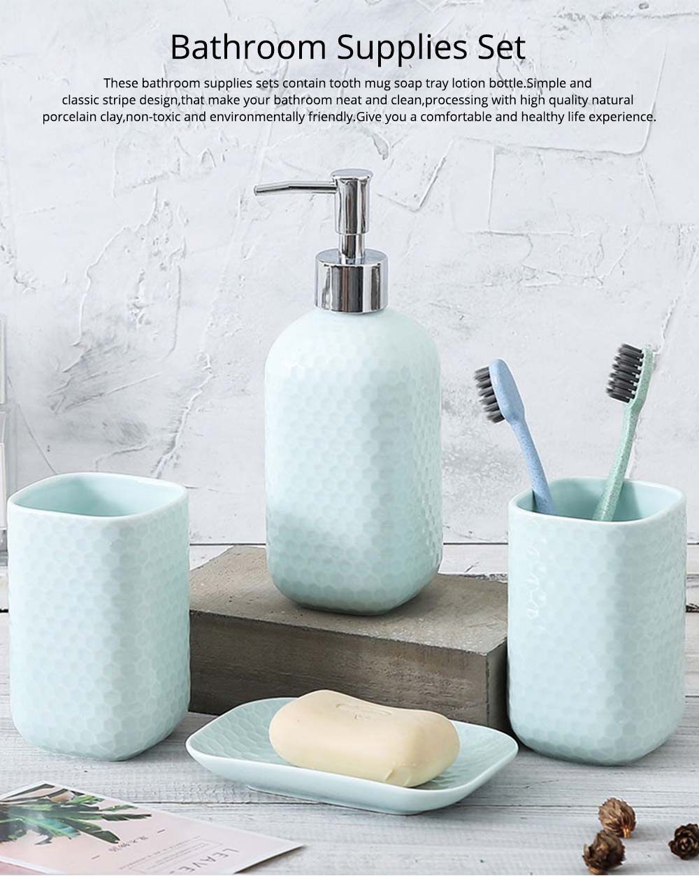 Simple Solid Color Ceramic 4 Pieces Bathroom Accessory Set Creative Fashion Design Tooth Mug Soap tray Lotion Bottle 0