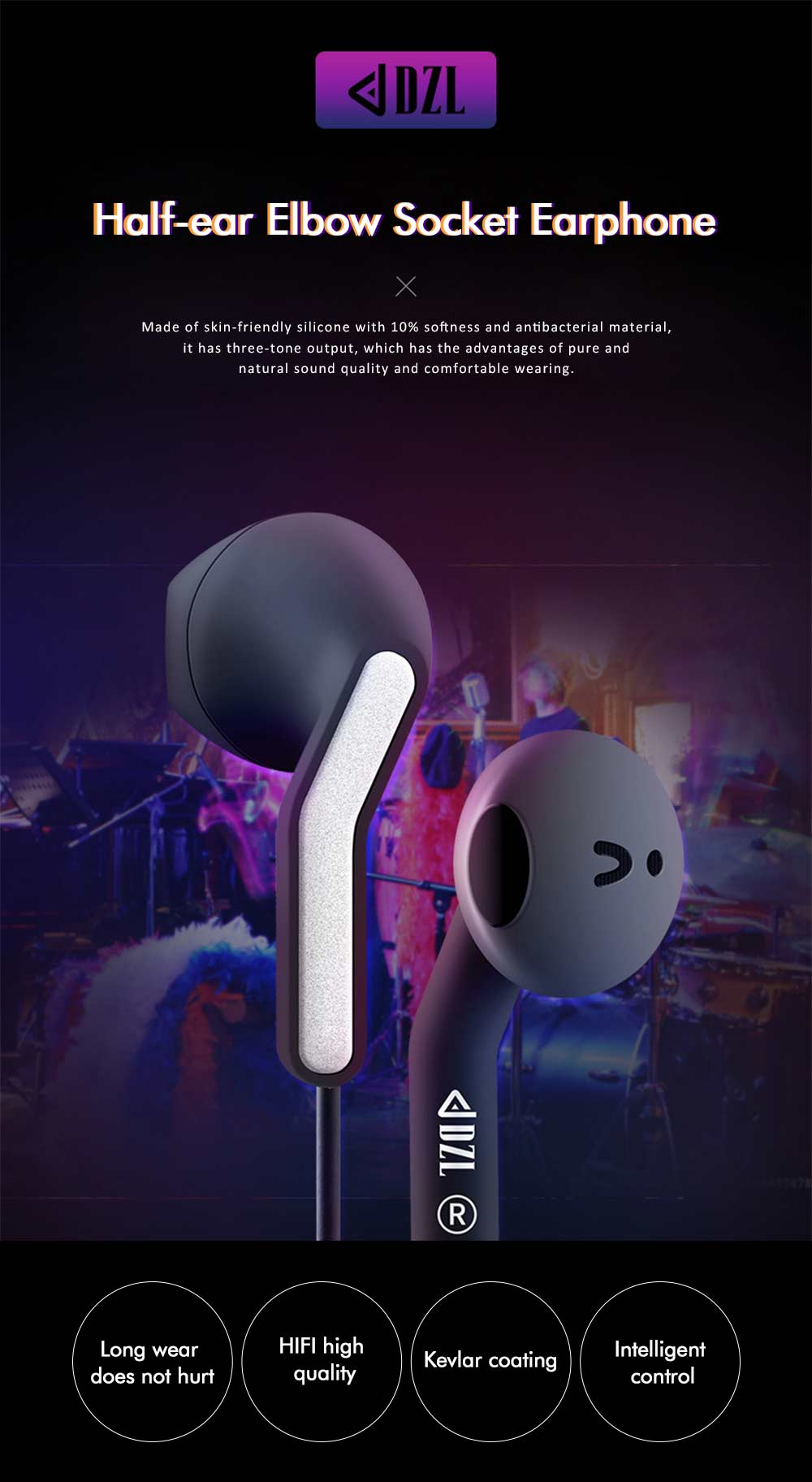 Semi-in-ear Headphones, Stereo Music Headphones, Elbow Socket Student Headphones For Mobile Computer Tablet Universal 0